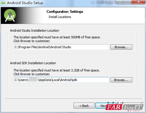选择Android studio和SDK的安装目录
